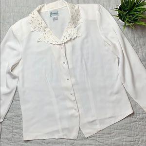Joanna long sleeve white blouse